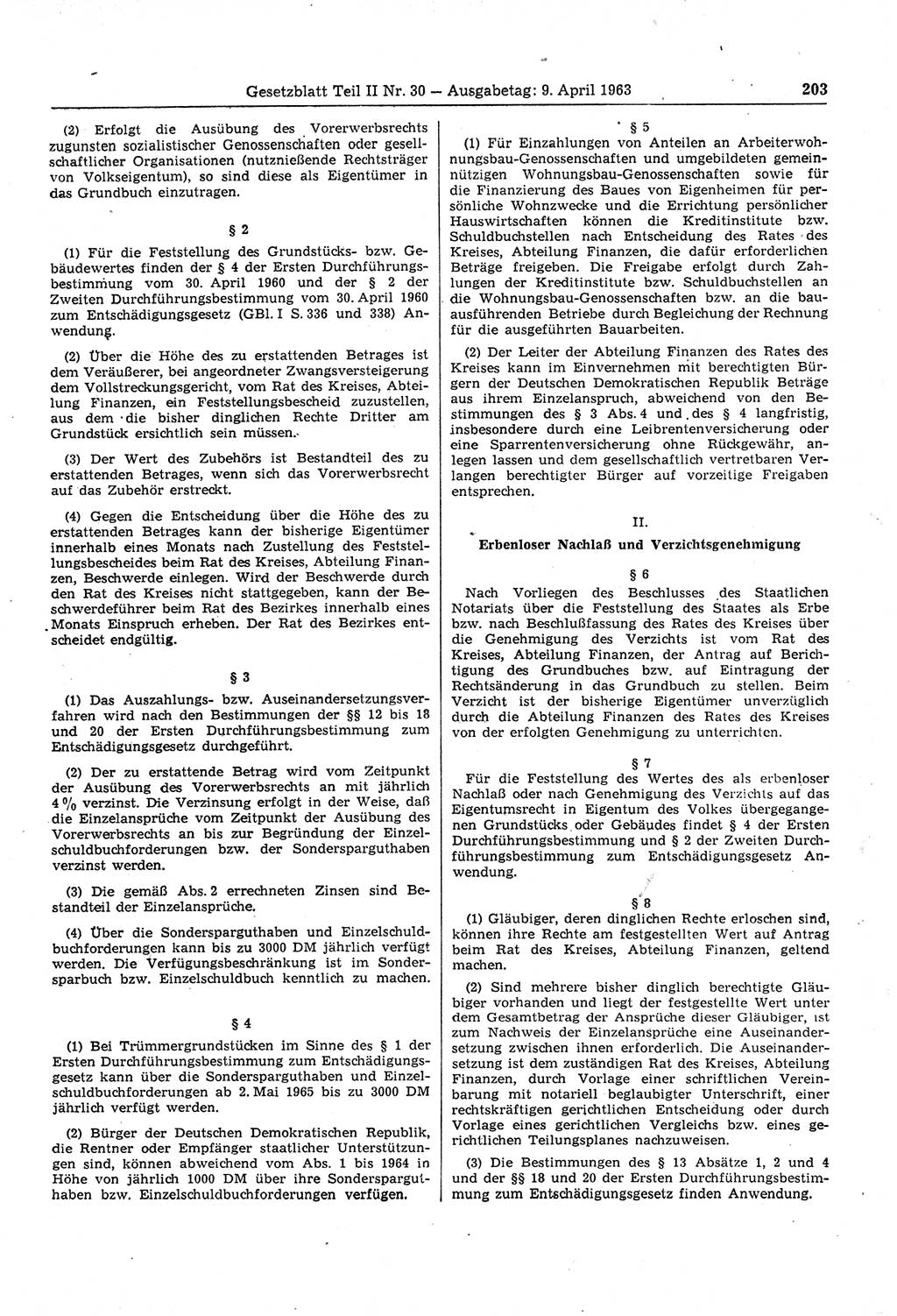 Gesetzblatt (GBl.) DDR Teil ⅠⅠ 1963, S. 203; Gesetzblatt ...