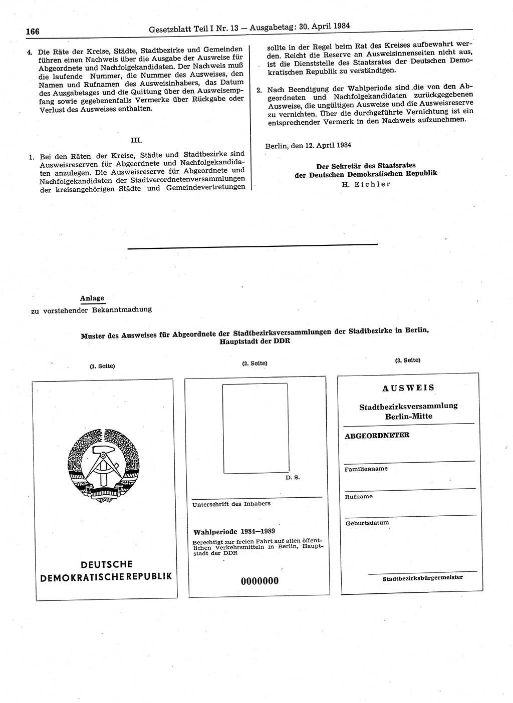 Gesetzblatt (GBl.) DDR Teil Ⅰ 1984, S. 166; Gesetzblatt ...